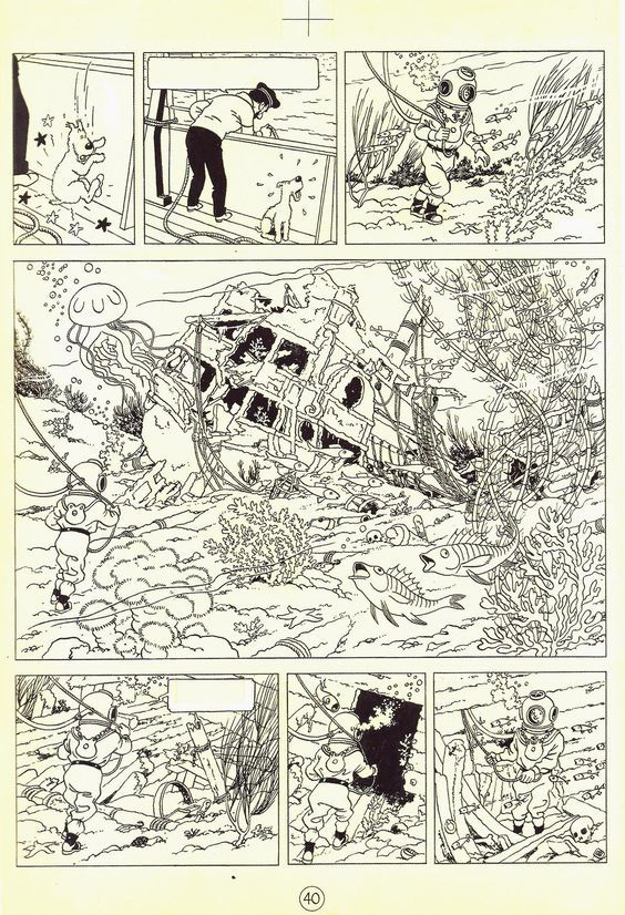 Herge 1944 Le Tresor De Rackham Le Rouge Page 40 Indian Ink