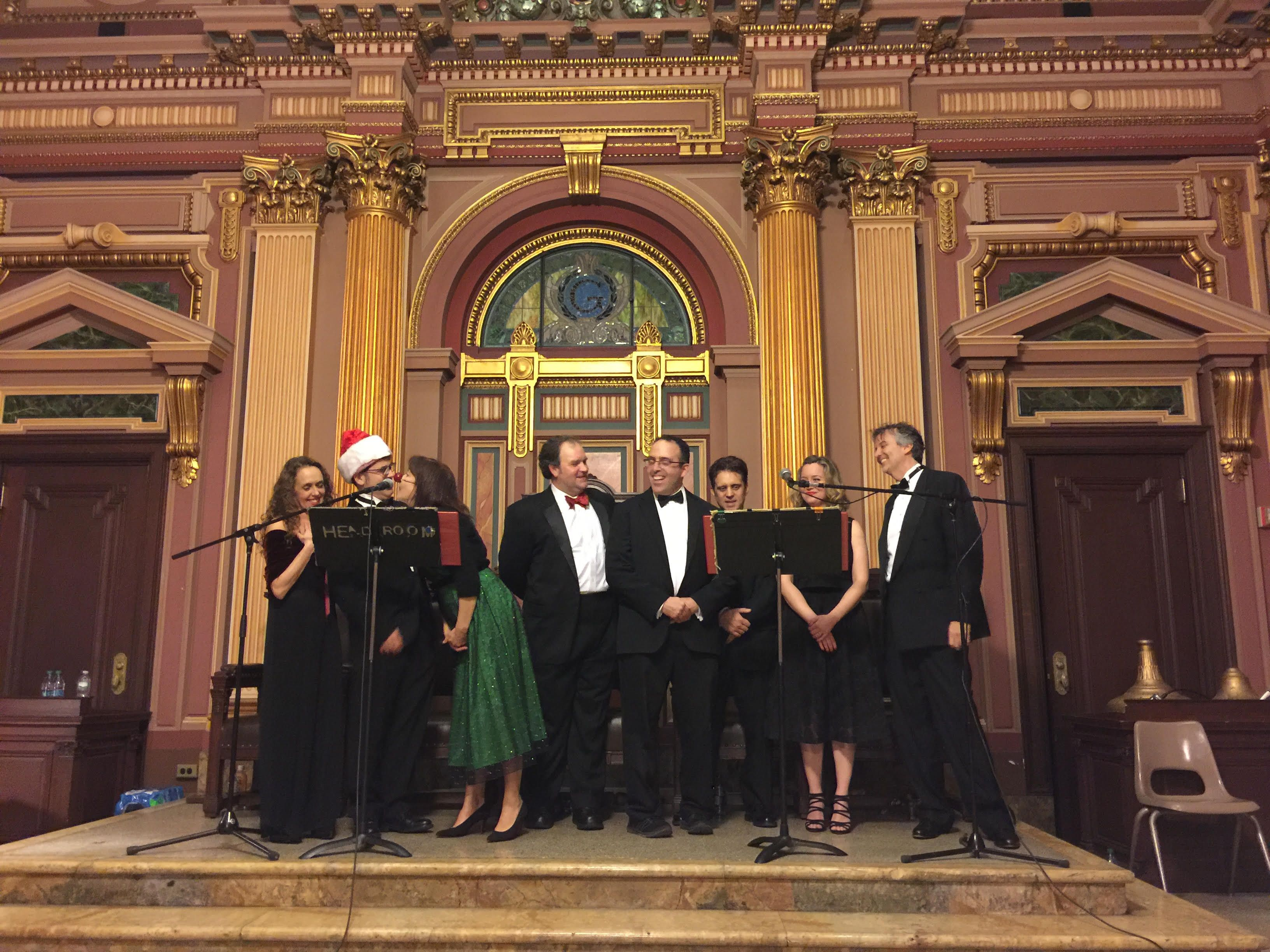 At the Christmas party, they had a wonderful performance of Rudolph the Rednosed Reindeer (Masonic Hall in Chelsea, NYC)