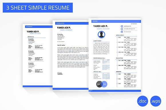 3 Sheet Simple Resume Word Version by YanBrothers Shop on