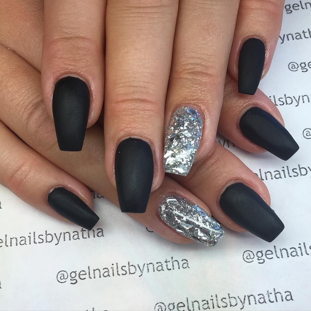 White And Silver For Prom Nail Ideas: Matte Nails, Ballarina Nails, Black Nails