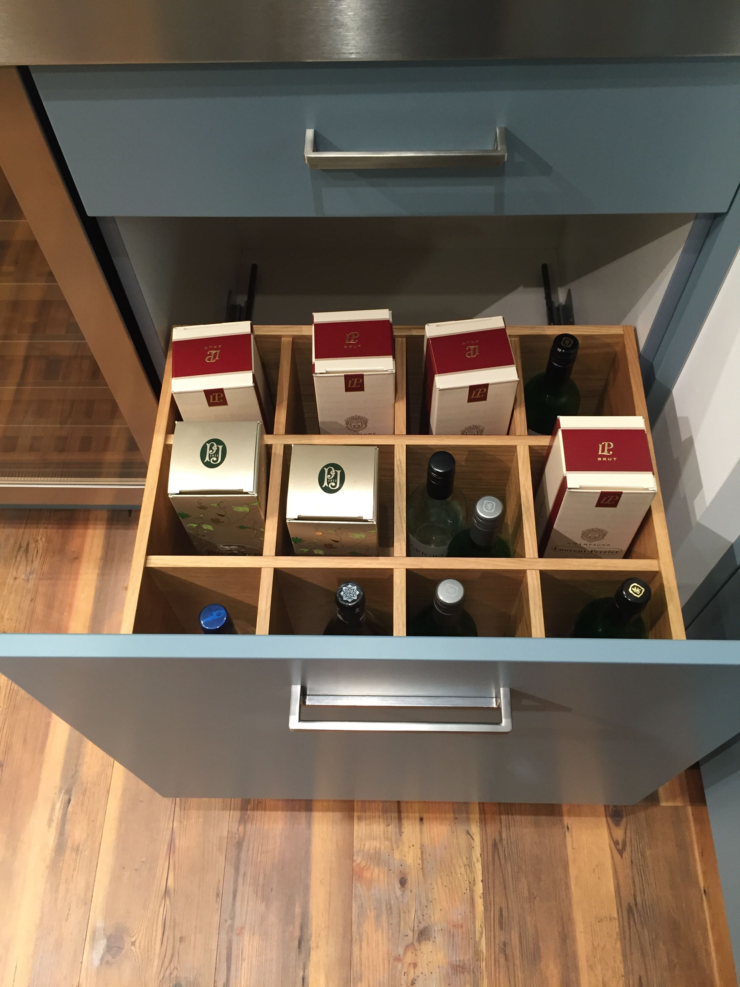Laura Ashley Wine Rack Drawer in Richmond Cooks Blue Oak Cabinet and