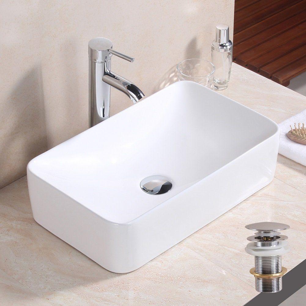 Basong Above Counter Bathroom Sink Rectangle Porcelain Ceramic Vessel  Vanity Sink Art Basin White 18.5x11