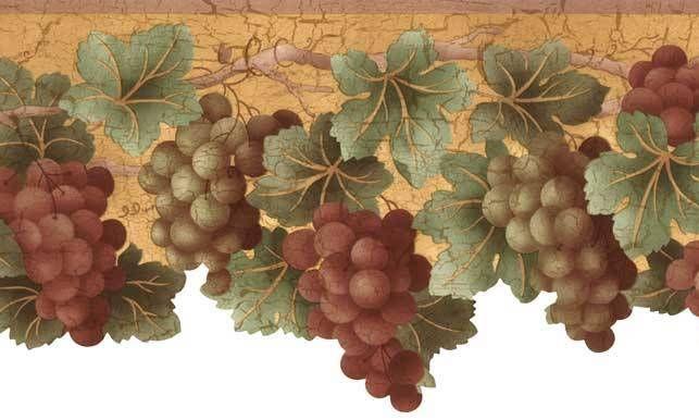 Tuscan Fruit Purple Blue Grapes Sculptured Die Cut Kitchen Wall paper Border