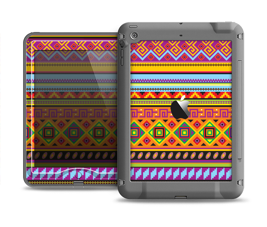 The Vector Gold & Purple Aztec Pattern V32 Apple iPad Air LifeProof Nuud Case Skin Set