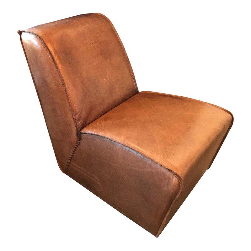 Modern restoration hardware bruno brown leather chair