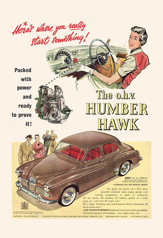 HUMBER HAWK CAR Poster – Retro Humber Car Ad – Vintage British Car Poster Mid Century Advertisement Classic Car Wall Art Poster