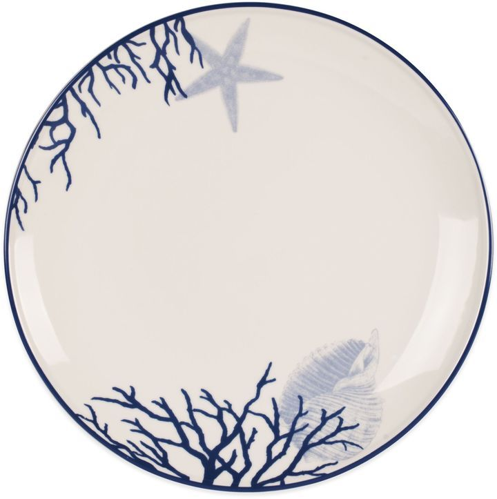 Everyday White Coastal Starfish C Dinner Plate