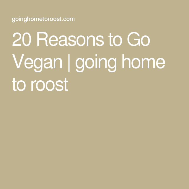 20 Reasons to Go Vegan | going home to roost
