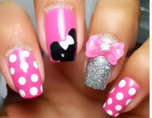 unas disenos Minnie Mouse, Minnie Mouse nail design | nail ...