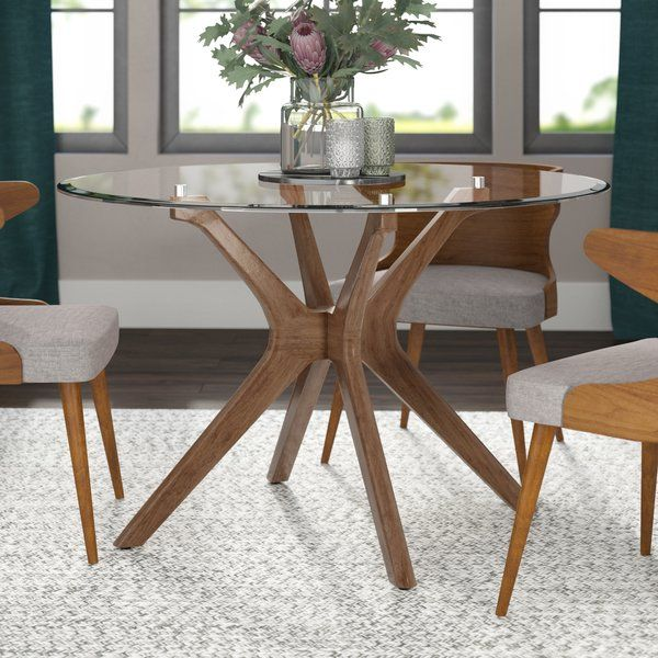 Anchor Your Space In Mid Century Modern Style With This Trestle Dining Table Featuring Ru Glass Dining Table Decor Round Dining Table Glass Round Dining Table