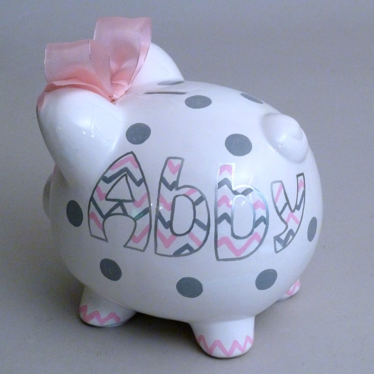 Baby Gift Piggy Bank : Large girly personalized chevron piggy bank from neat