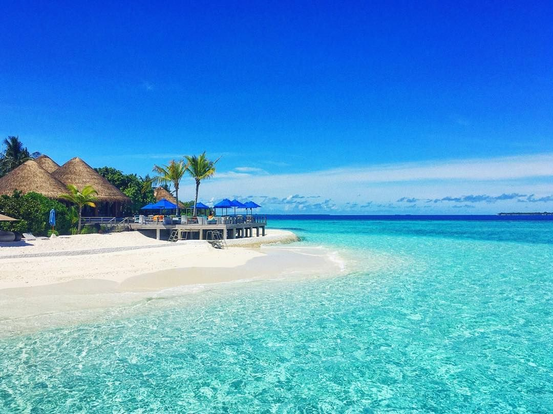 Sunshine at SandBar - tell us if you prefer to lay on the beach or swim? #dusitjourneys #wanderlust #maldives #DusitThaniMV