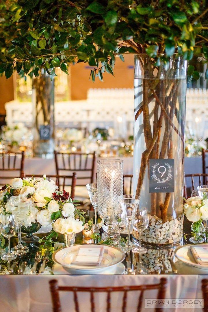 Elegant New York Wedding At Parrish Art Museum Modwedding Tree Centrepiece Wedding Wedding Reception Flowers Art Deco Wedding