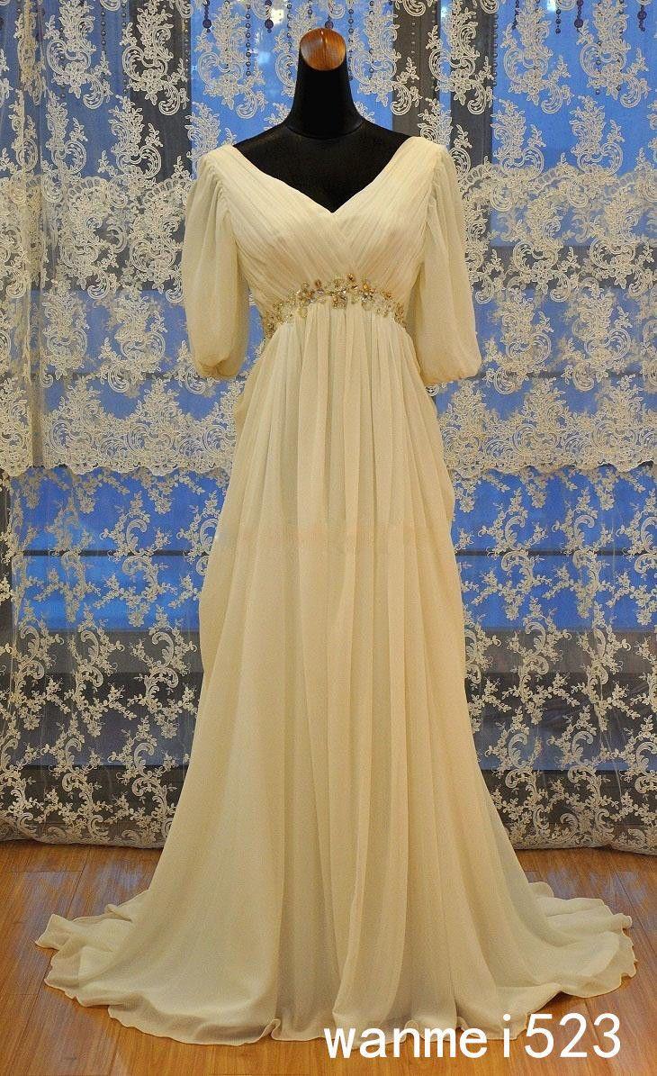 Cool chiffon wedding dress v neck ruched white ivory medieval