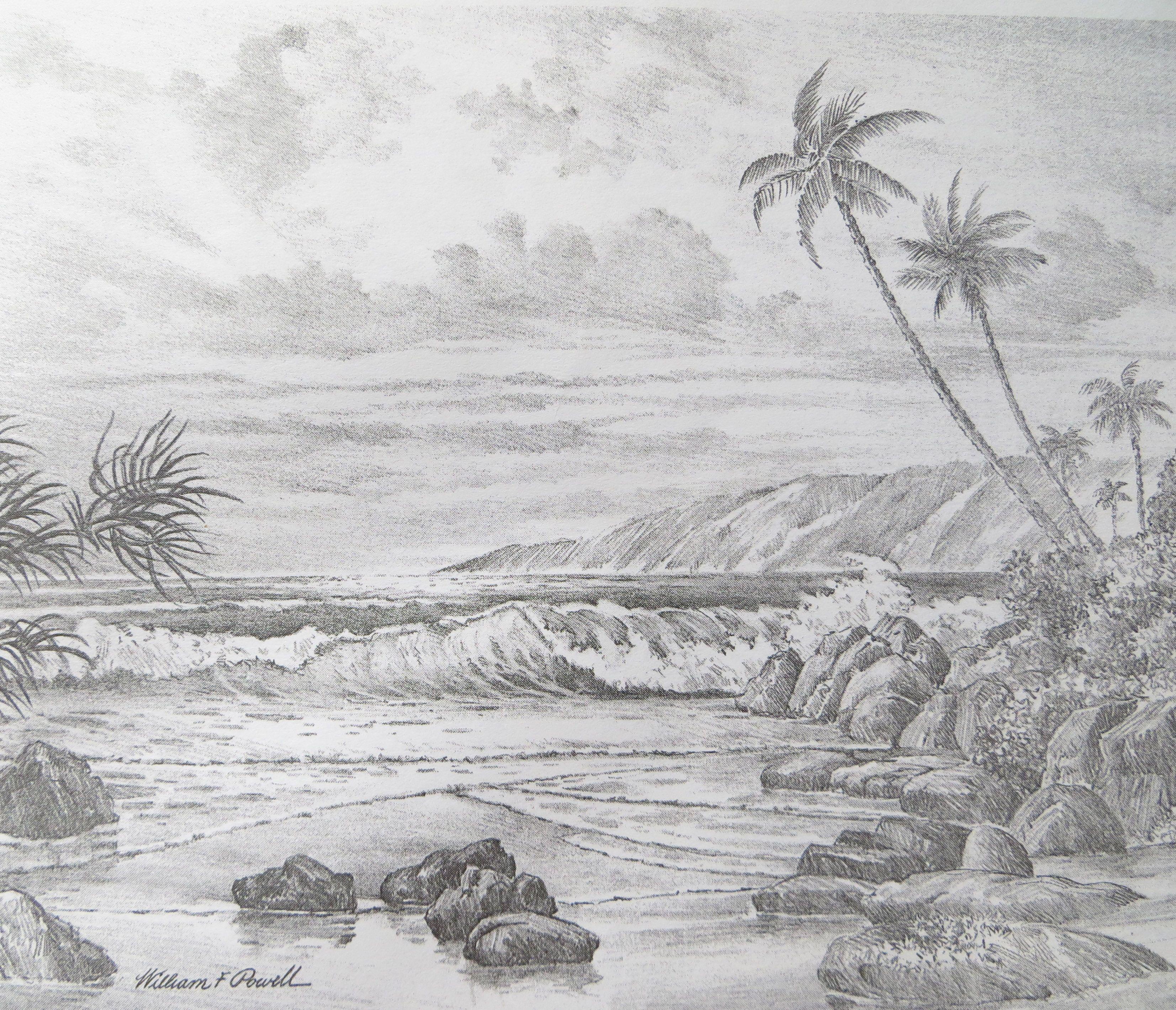 Рисунок с моря карандашом