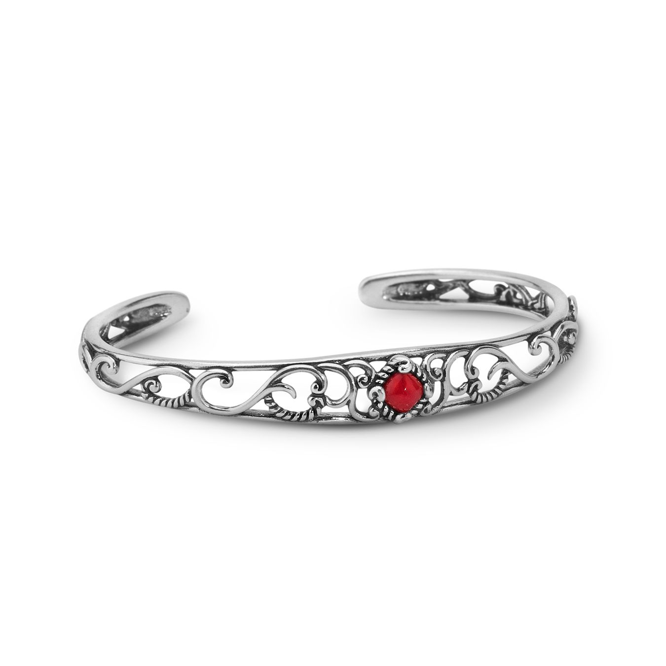 Scrolling silver and rope design make this bracelet a true beauty