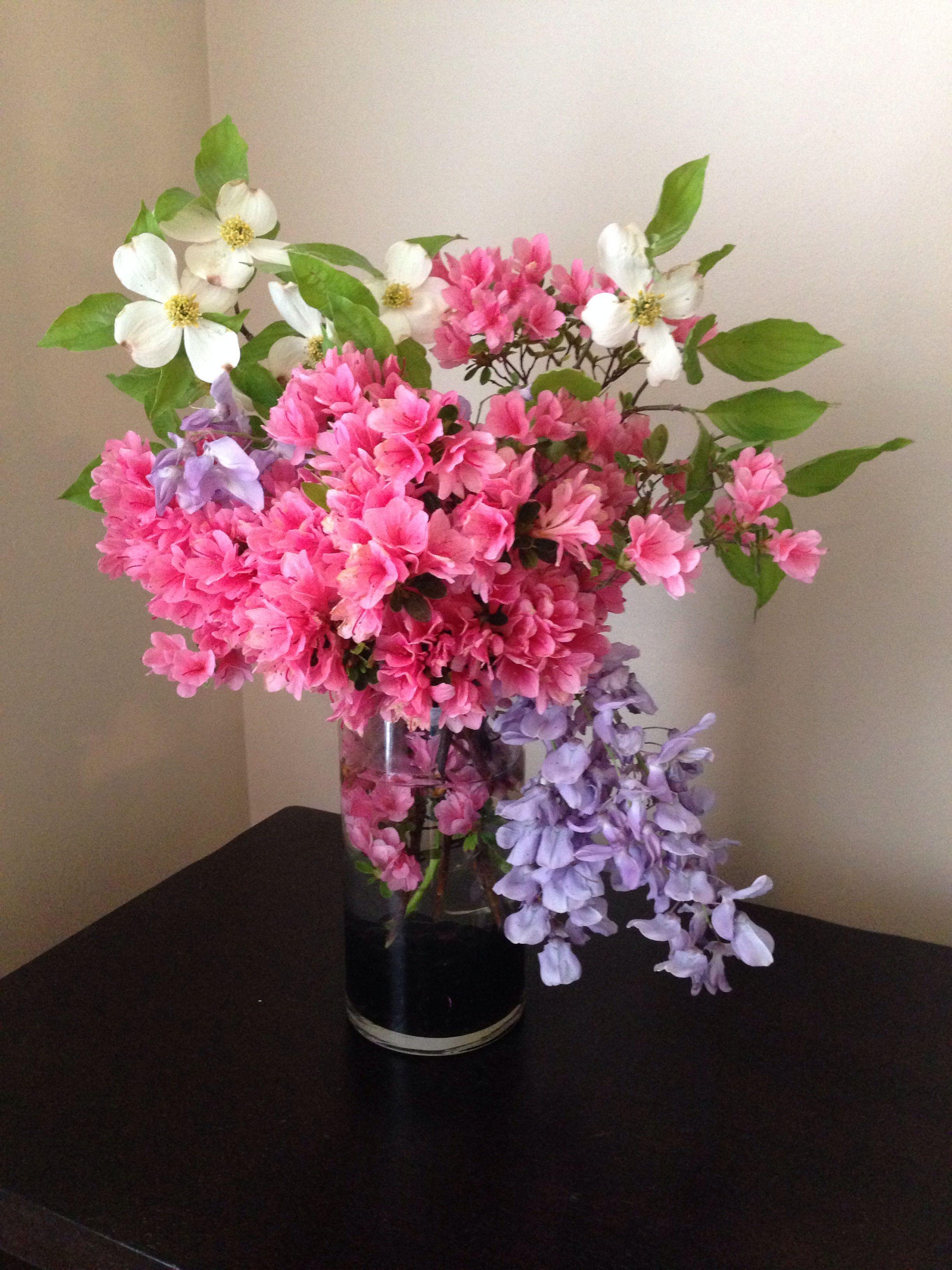 Backyard Bouquet With Azalea Wisteria And Dogwood Flower Arrangements Floral Arrangements Pink Dogwood