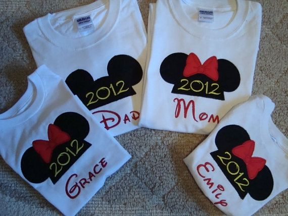 Custom made Minnie and Mickey mouse T- Shirts embroidered with free  personalization on Etsy,
