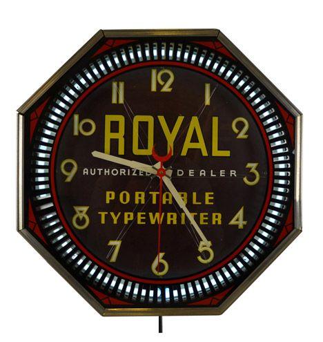 Royal Typewriter Advertisement Spinner Clock By Neon