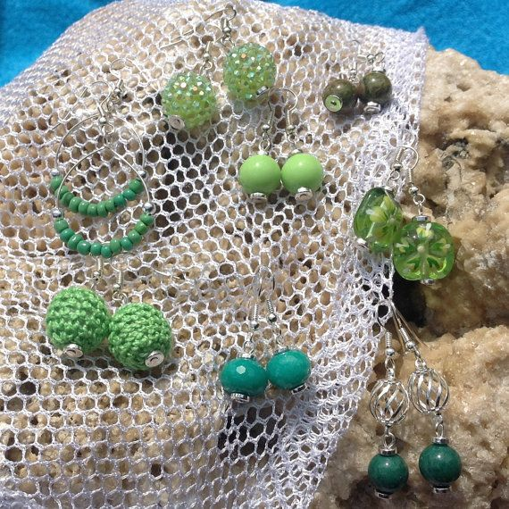 PICK 2 handmade green earring SPECIALbright green by Aranji, $10.00