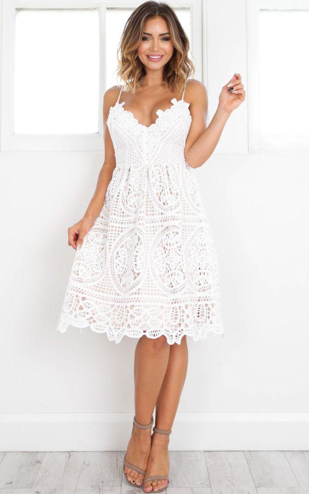 Chosen One Dress In White Crochet Showpo Fashion Online Bridesmaid Dresses Uk White Ball Dresses White Crochet Dress