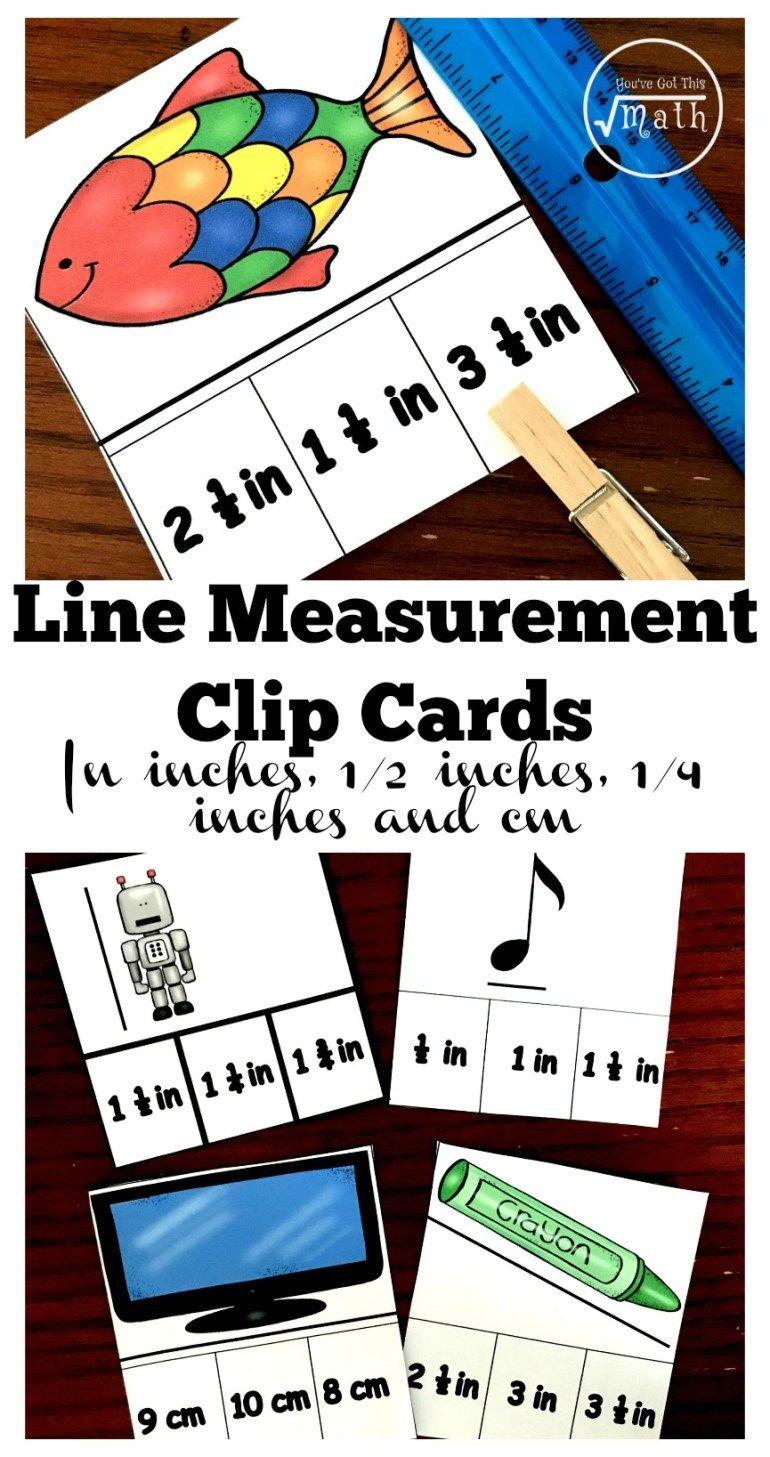 40 measuring lines clip cards to make measurement for kids