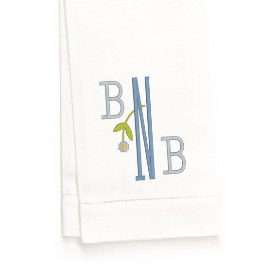 Bowman Monogram Hand Towel White Linen