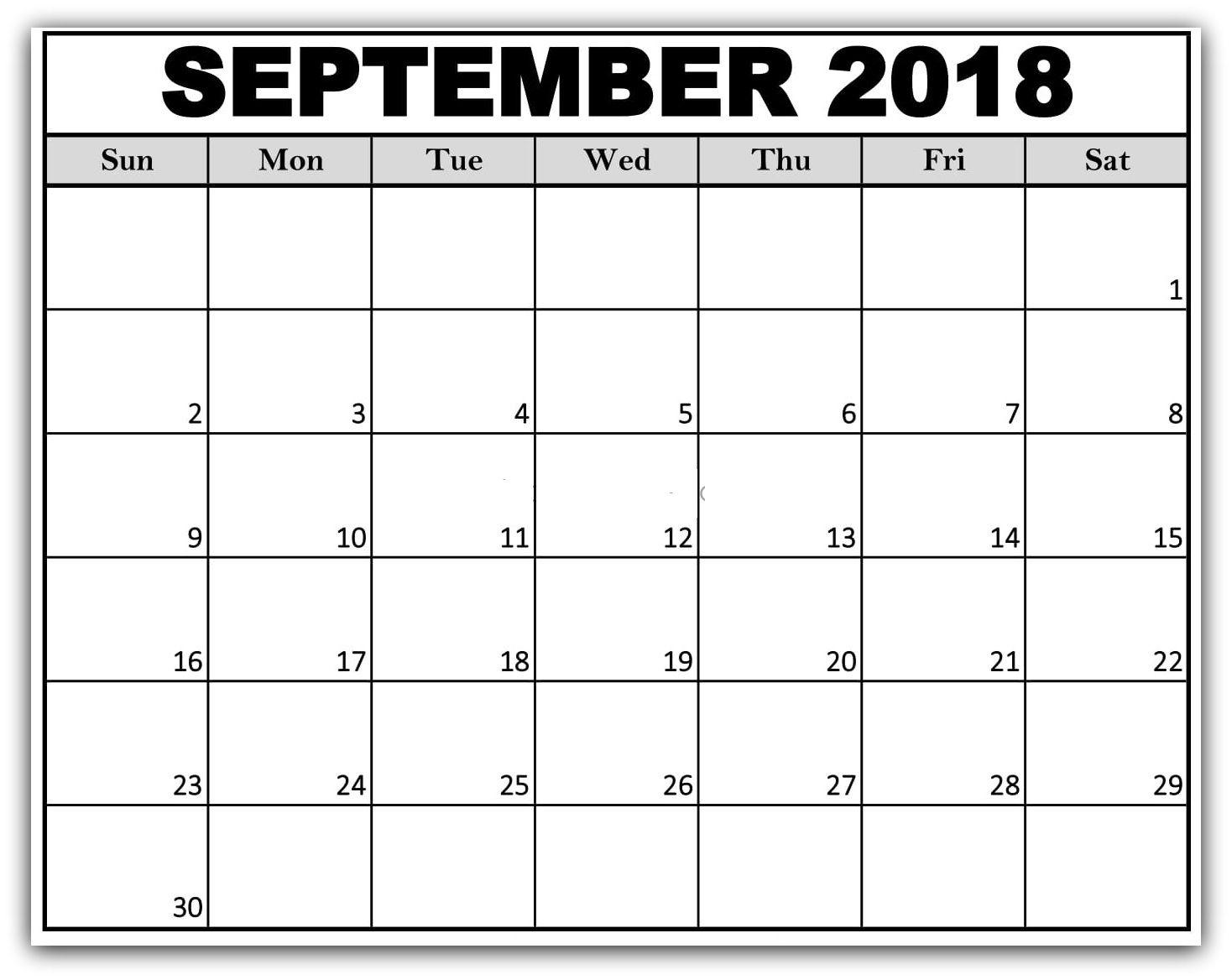 September 2018 Printable Monthly Calendar Kids Calendar 2018