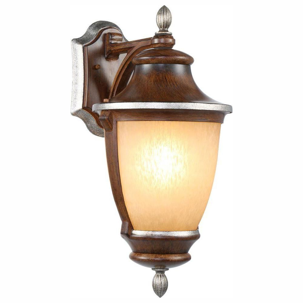 Hampton Bay 1 Light Mossoro Walnut Outdoor Wall Lantern Sconce Wall Mount Lantern Outdoor Wall Lantern Wall Lantern