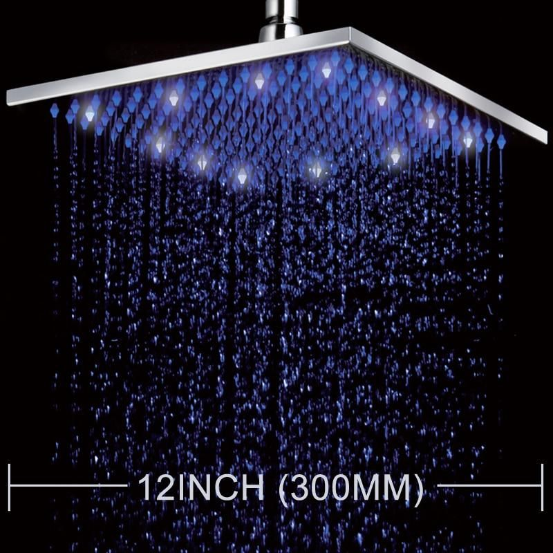 Led Color Changing 12 Square Rain Shower Head Wall Mounted Shower