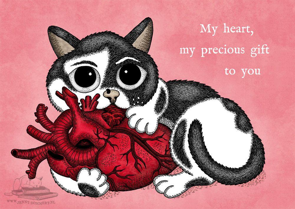 Valentinskarte Mit Beebiepoes Gothic Liebeskarte Von PussInBooks