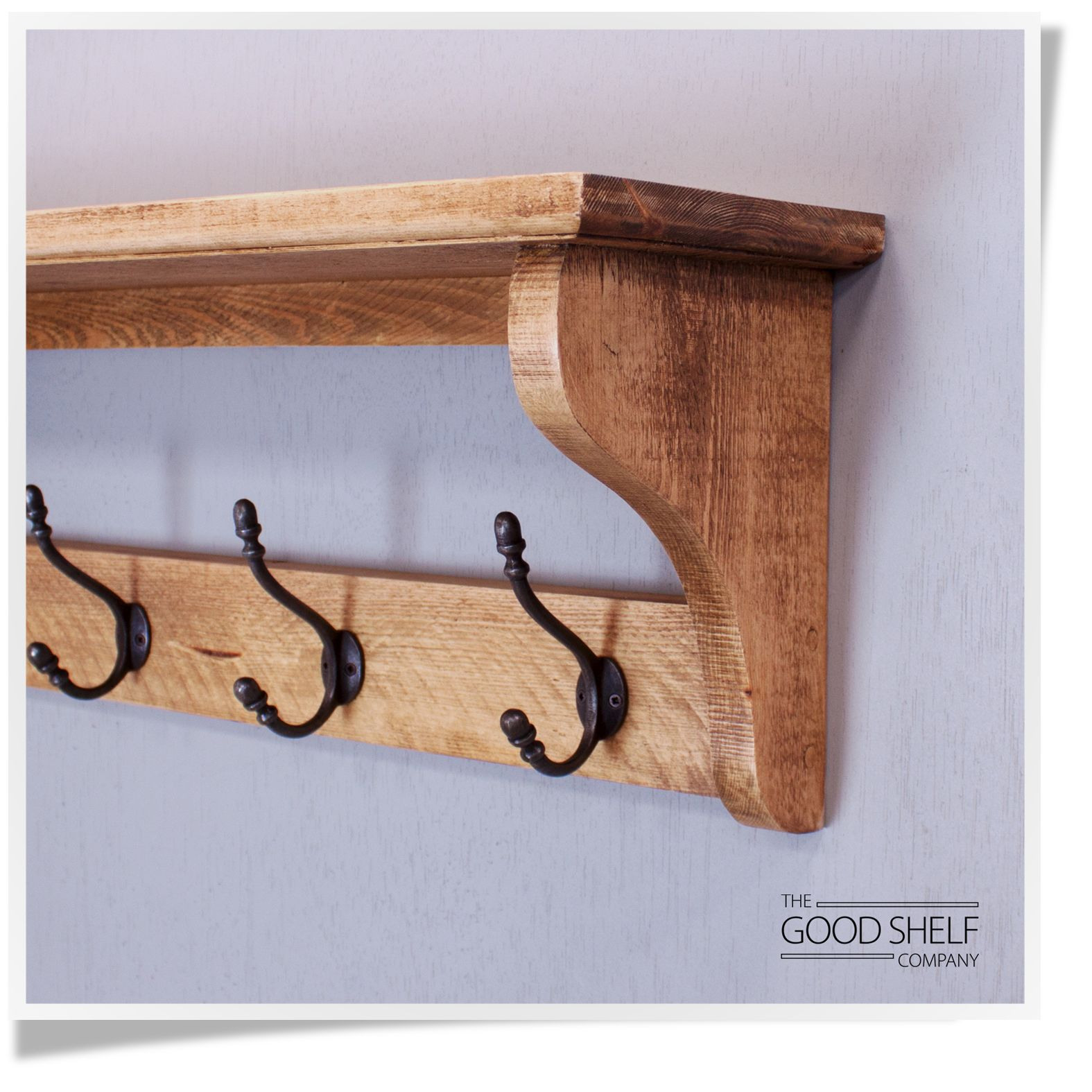 Hat and Coat Rack with Shelf Finished