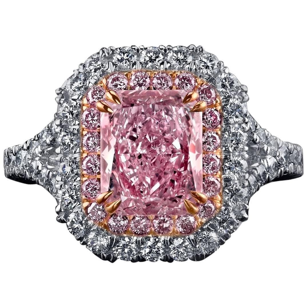 Natural Fancy Pink Diamond Gold Platinum Ring | From a unique ...