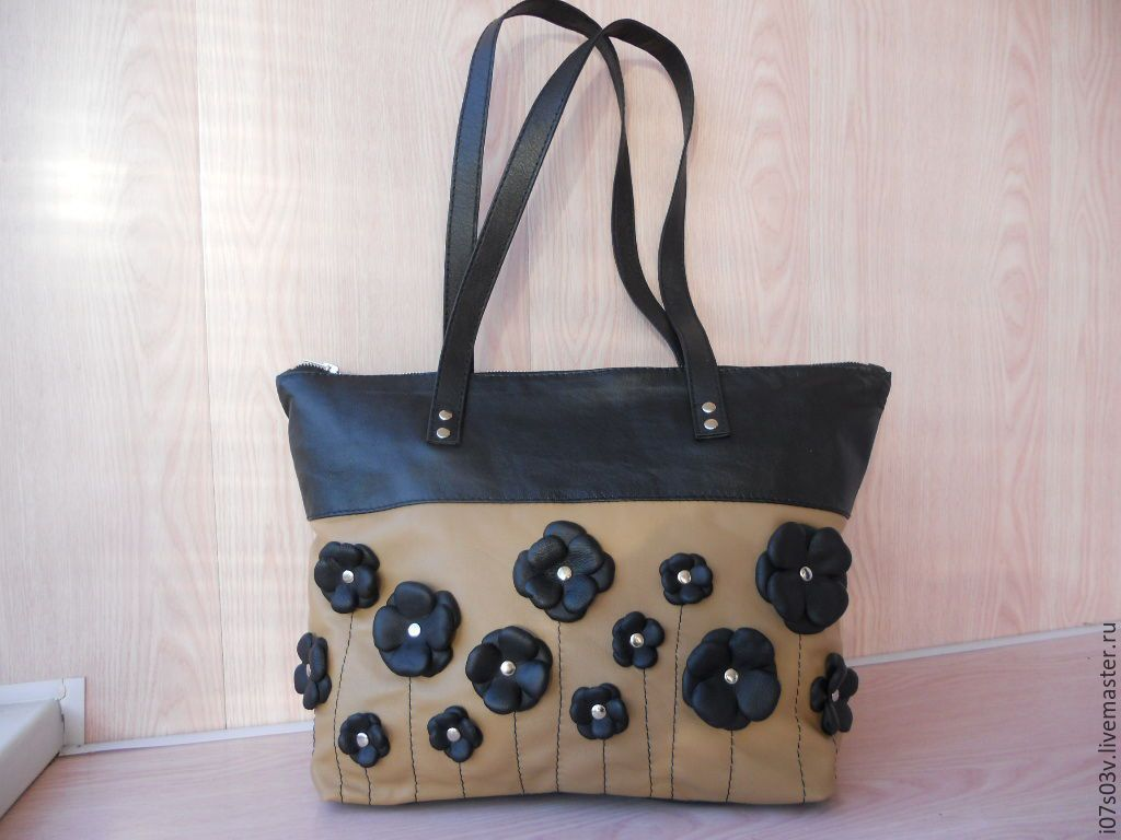 Buy Leather bag art.1-385а - bag with flowers, hand made