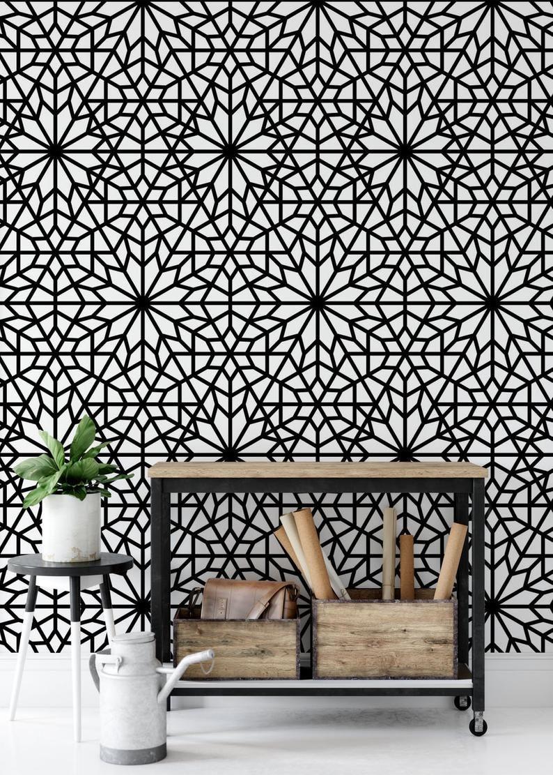 Geometric Wallpaper Removable Wallpaper Modern Wallpaper Etsy Modern Wallpaper Geometric Wallpaper Removable Wallpaper