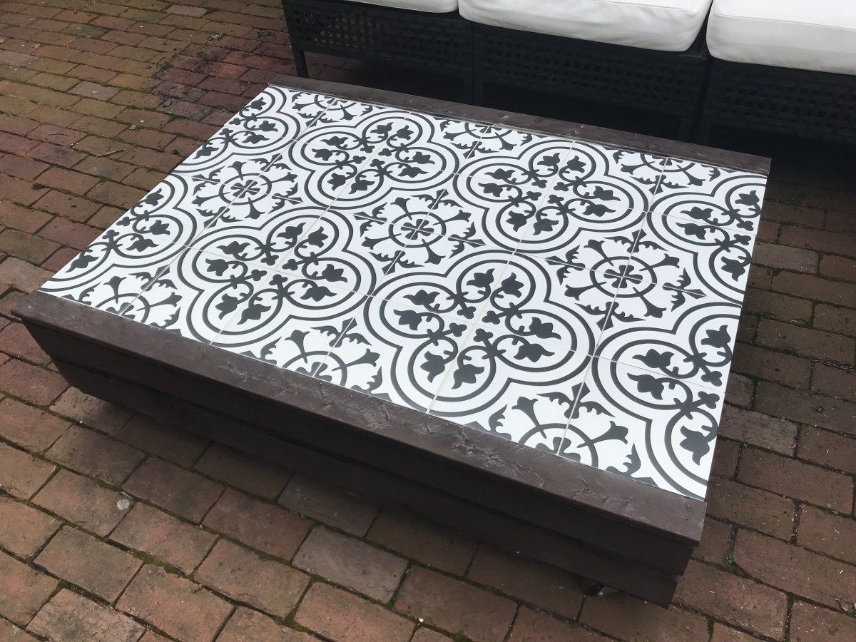 Diy Outdoor Pallet Tile Coffee Table Tiled Coffee Table Outdoor
