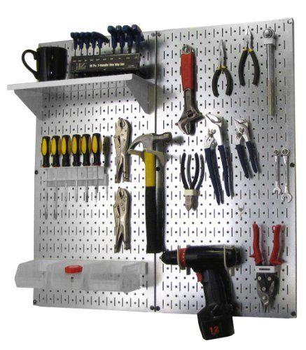 Wall Control Metal Pegboard Organizer Utility Tool Storage And Garage Pegboard Organizer Kit With Metallic Pegboard Metal Pegboard Storage Kits Steel Pegboard