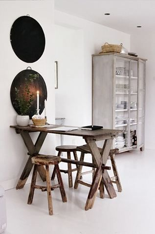 Rustic table in a white room