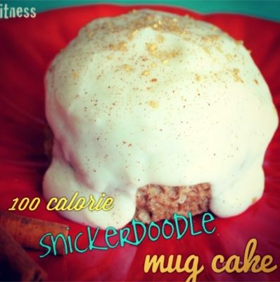 One Hundred Calorie Snickerdoodle Protein Mug Cake - Here's a light, fluffy and moist cake that's only 100 calories! It tastes like the cake version of a cross between a snickerdoodle cookie and a cinnamon roll.