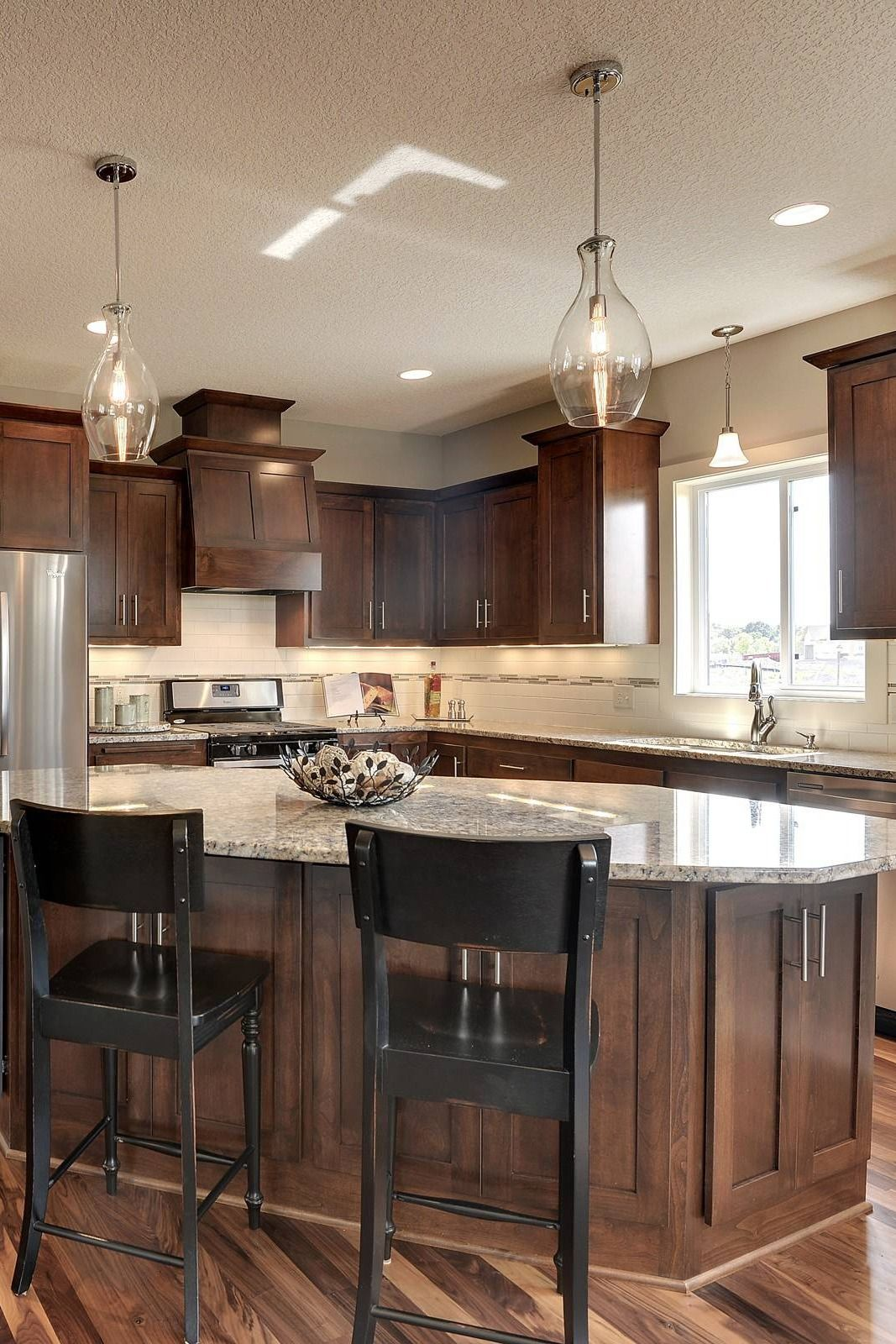 Dark Cabinets With White Granite Countertops