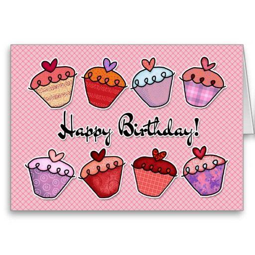Happy Birthday Dancing Cupcakes Card Zazzle Com Birthday Greeting Cards Cupcake Birthday Cards Happy Birthday Dancing