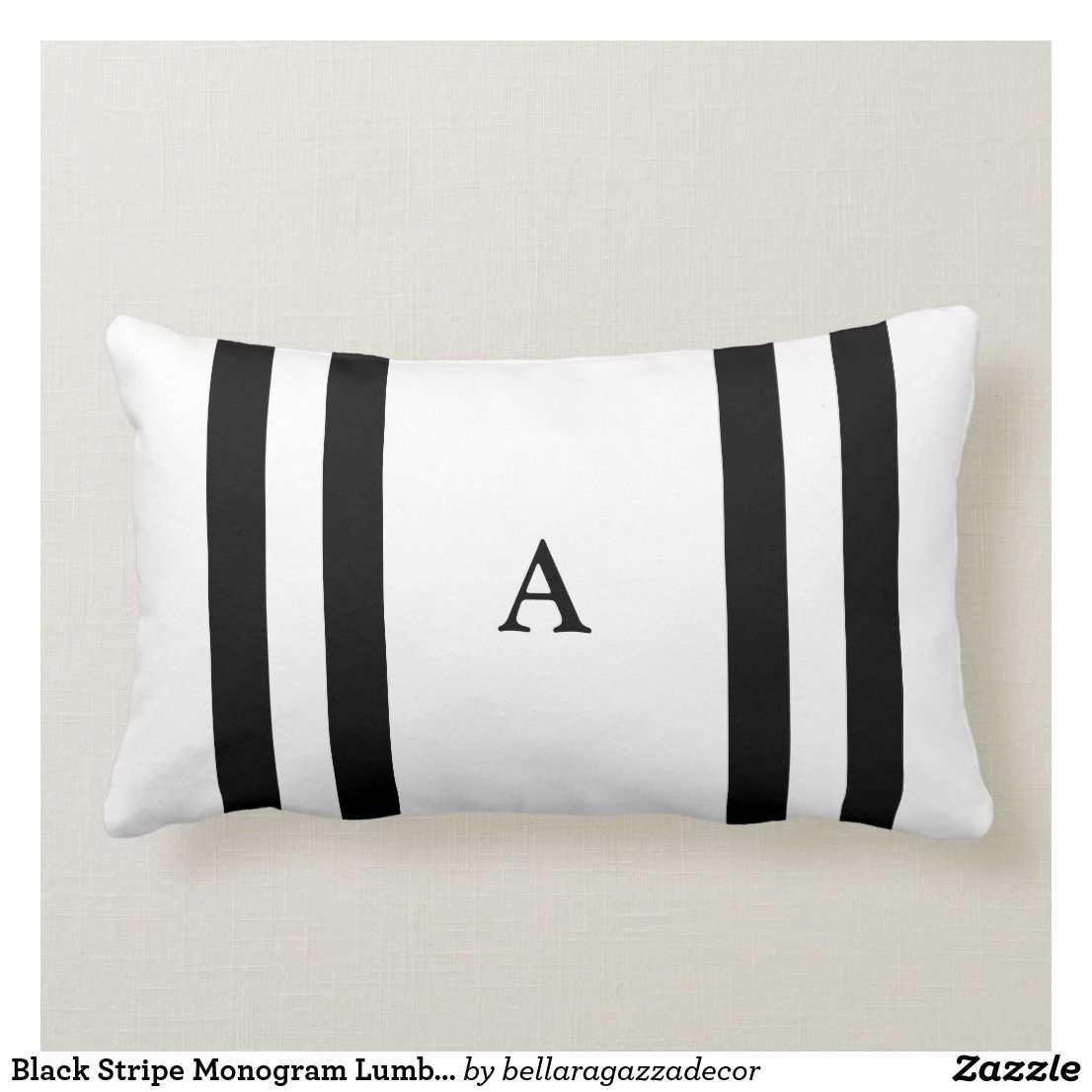 black stripe monogram lumbar