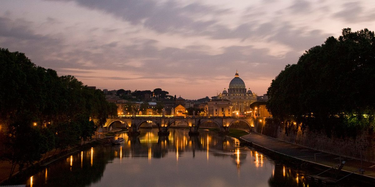 The River Tiber, with St. Peter's Basilica in the distance