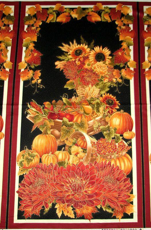 Easy Fabric Panel Quilt Kit Autumn Splendor Pumpkin Harvest Fall ... : fall quilt fabric - Adamdwight.com