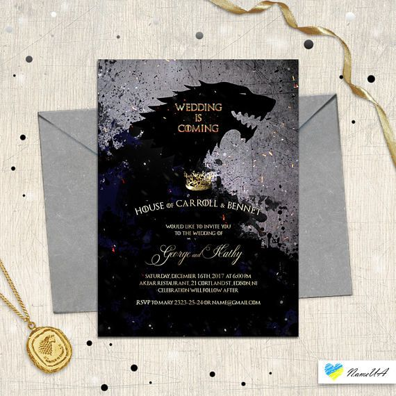 Wedding is coming invitation game of thrones movie themed wedding wedding is coming invitation game of thrones movie themed stopboris Choice Image
