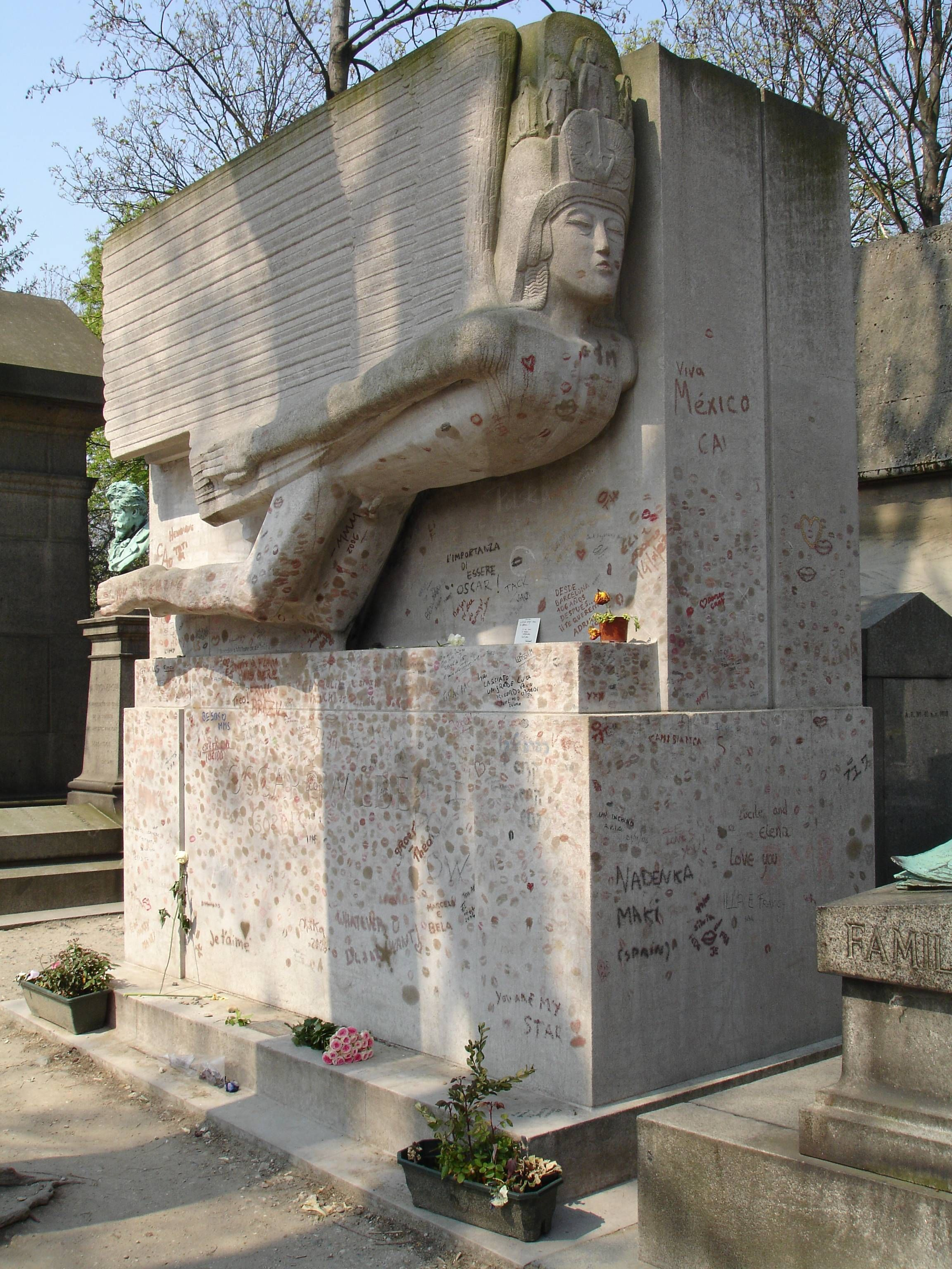 Oscar Wilde Tomb, Pere Lachaise, Paris, France. You Put On Lipstick And  Kiss It For Luck In Love.. I Did Not