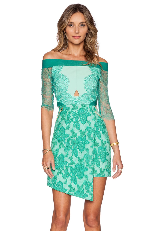 Three Floor Three Floor Lace Is More Dress in Jungle & Celadon ...