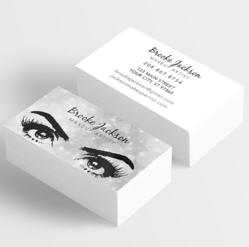 Already designed makeup artist business cards with silver sparkles already designed makeup artist business cards with silver sparkles and eyes with lashes colourmoves