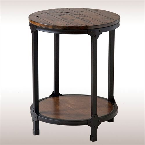Macon Rustic Accent Table Aged Brown Round Accent Table Round End Tables End Tables