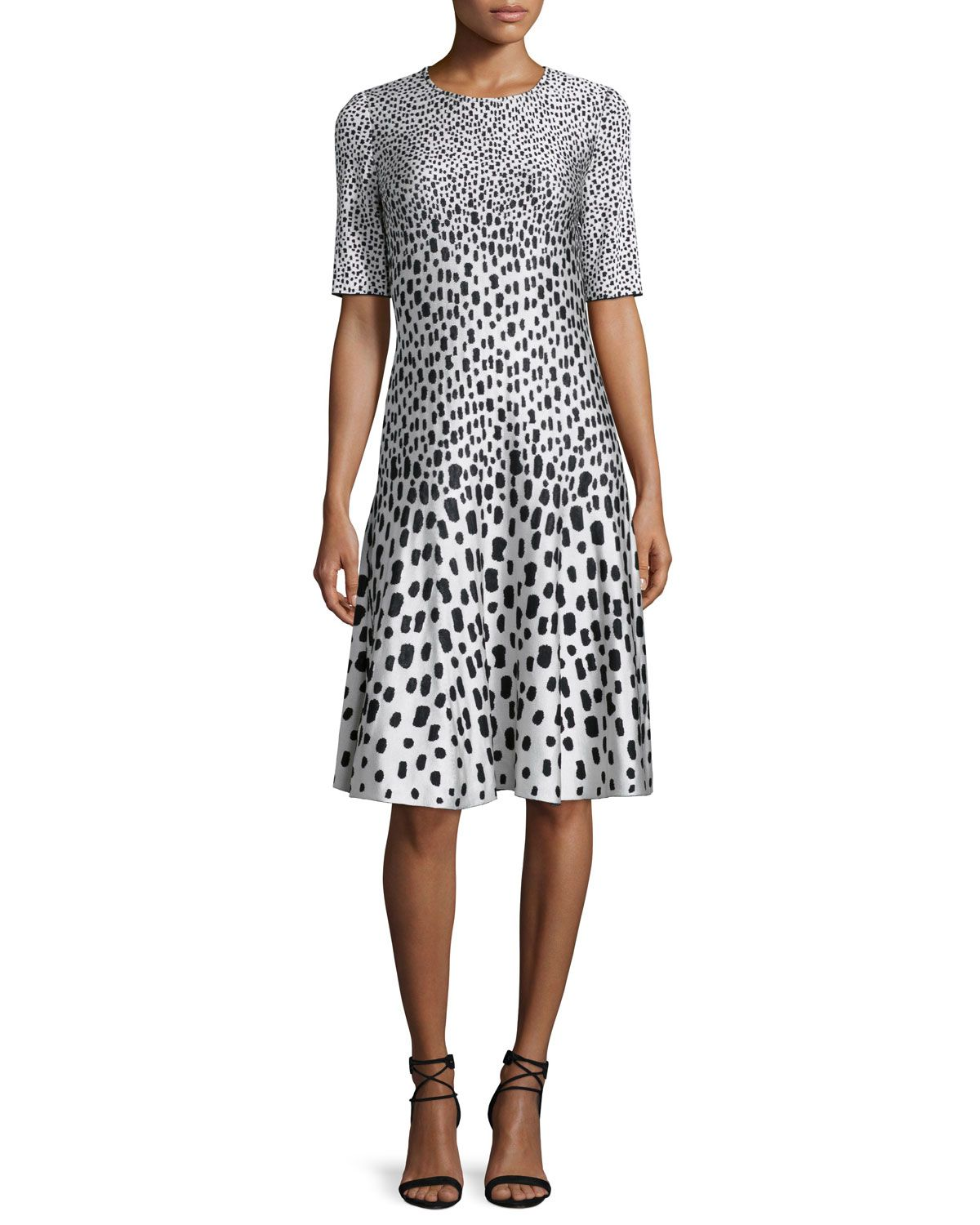 St John Collection -- animal print jacquard flared dress. Made in USA. b482e9c01